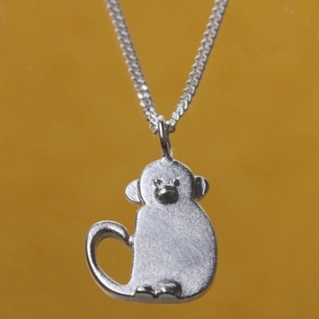 Silver Monkey Pendant With Chain
