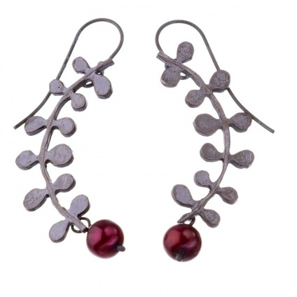 Oxidised Silver With Red Pearls Vine Earrings