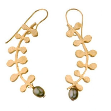 Guilded Gold With Green Pearls Vine Earrings
