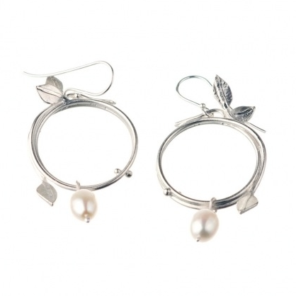 Silver With White Pearls Vine Earrings