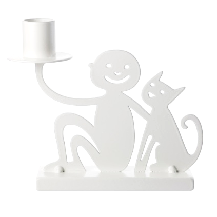 Boy & Cat White Big Candle Holder