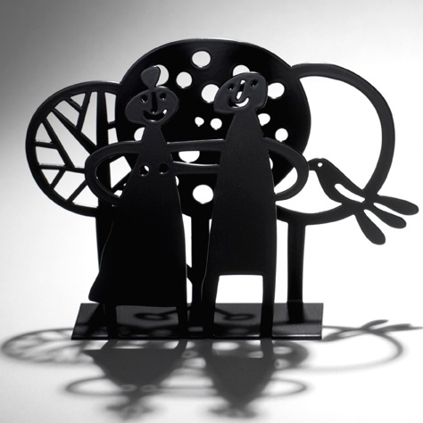 Couple & Trees Black Napkin Holder