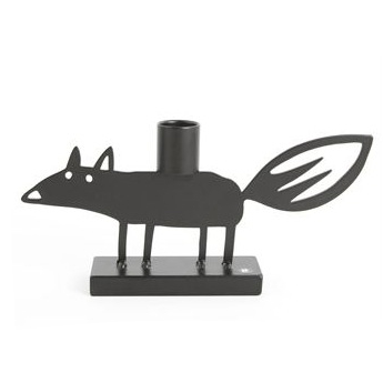 Fox Black Candle Holder