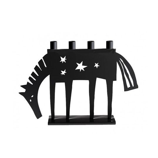 Horse Black Candle Holder