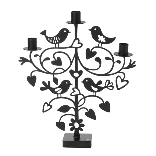 Lovebirds Black Big Candle Holder