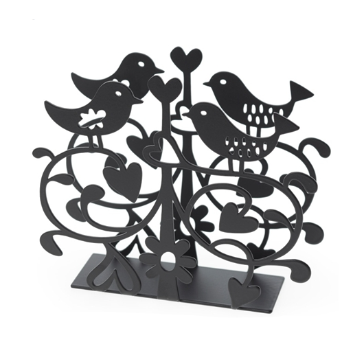 Lovebirds Black Napkin Holder