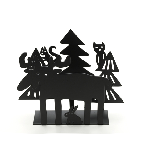 Moose in the Forest Black Napkin Holder