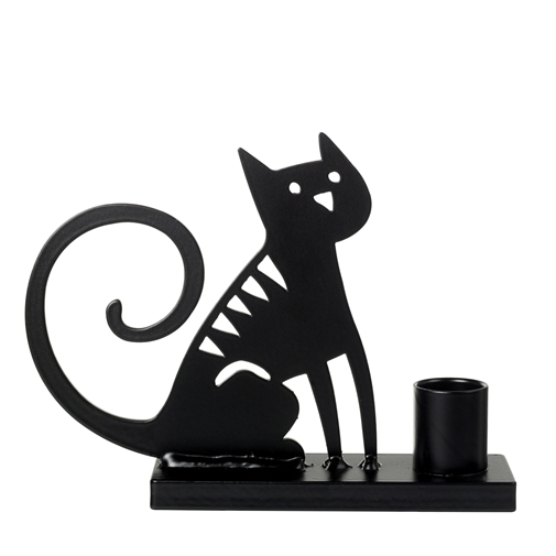 Sitting Cat Black Candle Holder