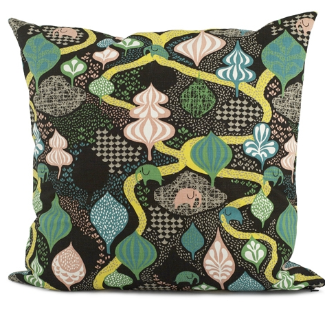 Saga Forest Black/Multi Cushion 50 x 50cm - Northlight Homestore
