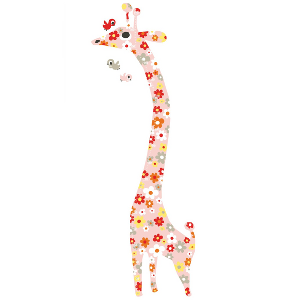 Flowers Giraffe Measuring Wall Sticker