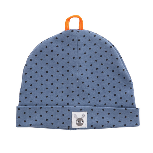 Skummis Blue Beanie with Dark Blue Polkadots
