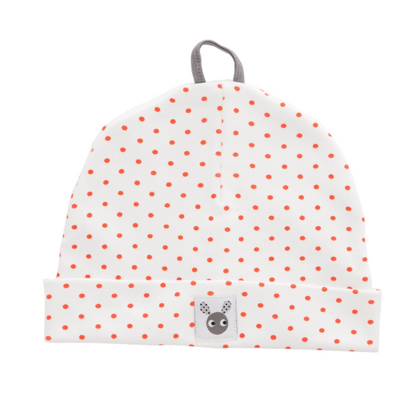 Skummis White Beanie with Orange Polkadots