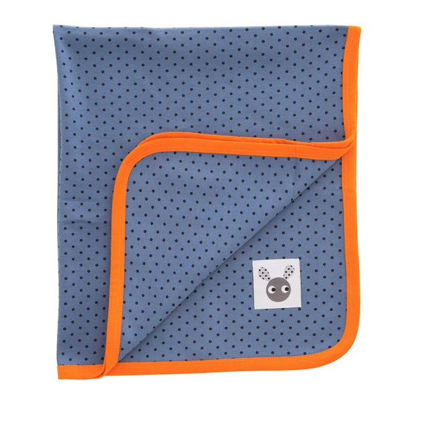 Skummis Blue Blanket with Orange Trim - Northlight Homestore