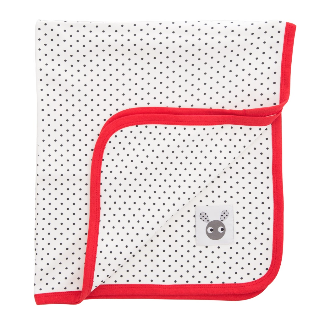 Skummis White Blanket with Red Trim - Northlight Homestore