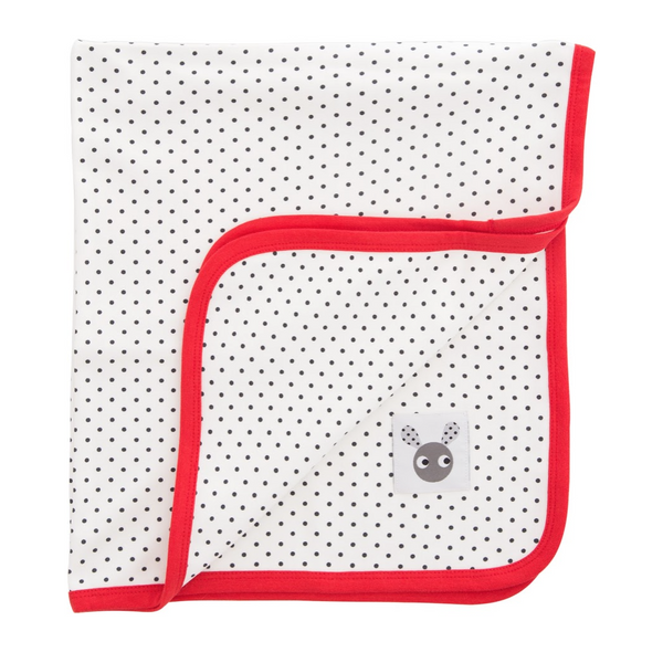 Skummis White Blanket with Red Trim