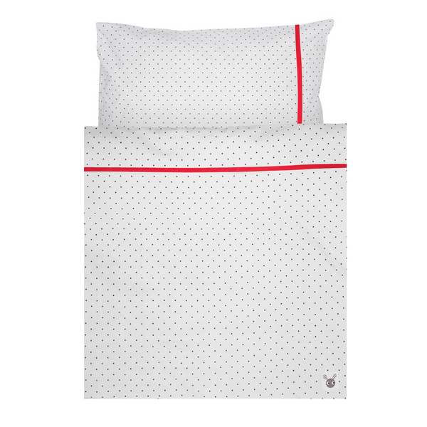 Skummis White/Red Cradle/Pram Bedset