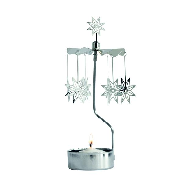 8 Pointed Star Silver Rotary Candle Holder