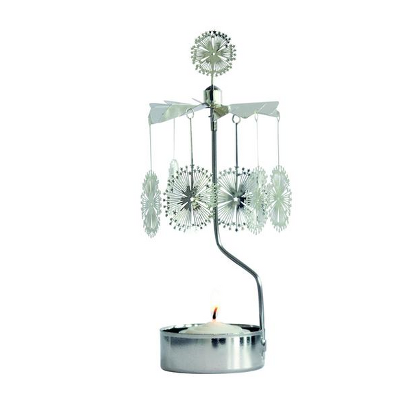 Explosion Silver Rotary Tealight Candle Holder