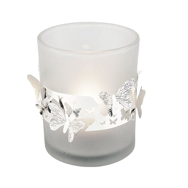 Frosted Glass Tea Light Holder Butterflies - Northlight Homestore