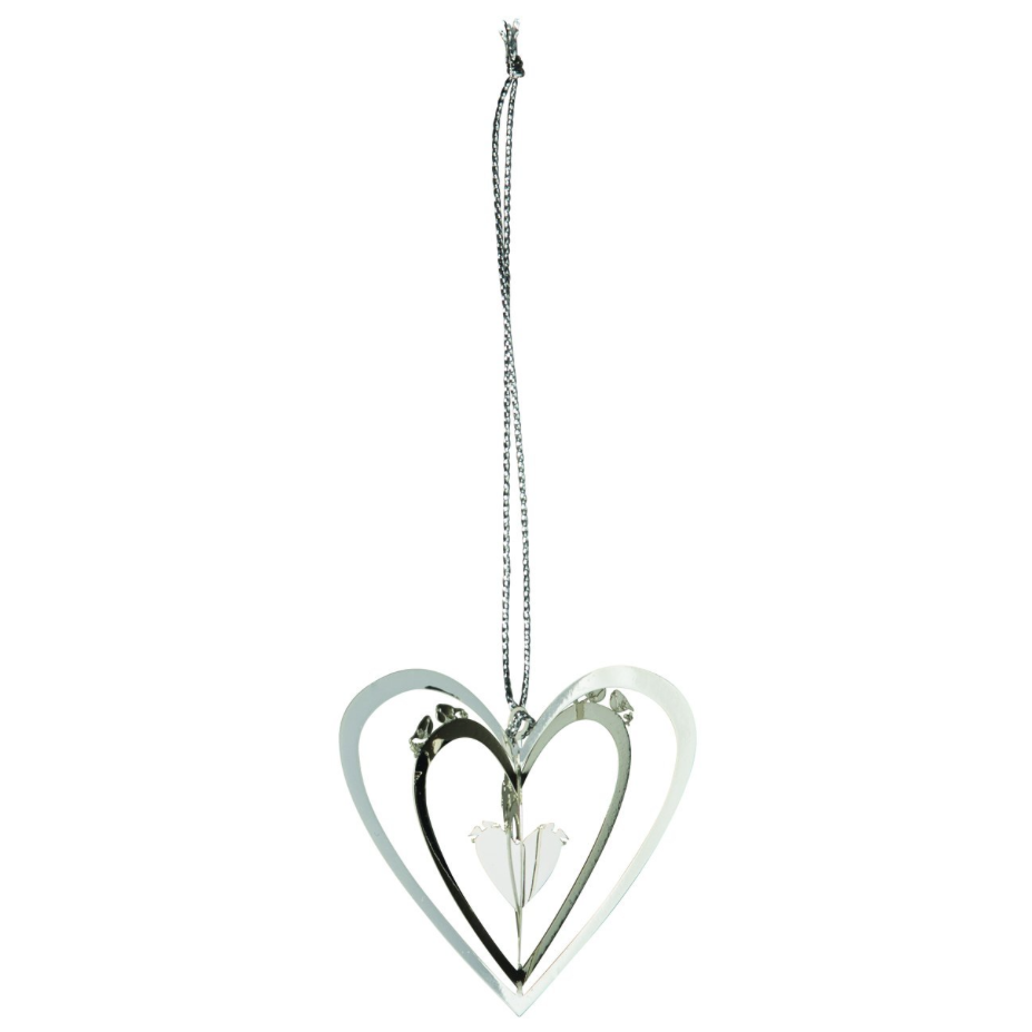Heart Hanging Silver 3D Hanging Decoration - Northlight Homestore
