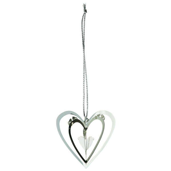 Heart Hanging Silver 3D Hanging Decoration