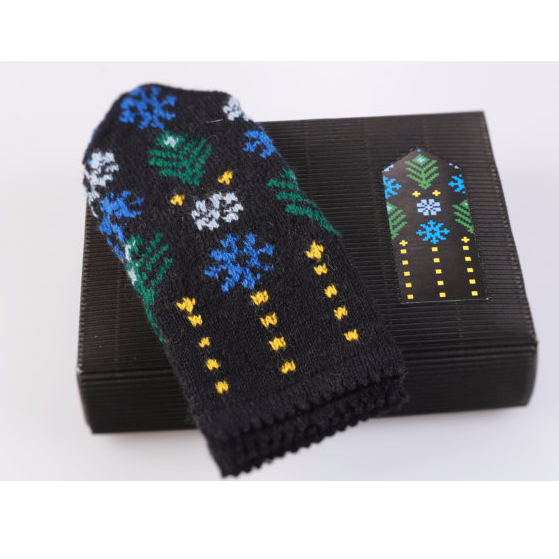 Blue & Black Pattern DIY Latvian Mitten - Northlight Homestore