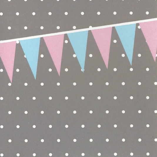 Mr. Fågel Bunting Grey/Blue/Pink Gift Tag - Northlight Homestore