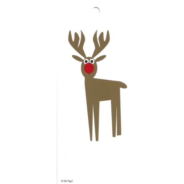 Rudolph White/Gold/Red Gift Tag - Northlight Homestore