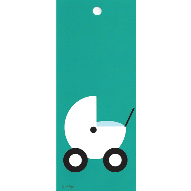 Pram Turquoise/White Gift Tag - Northlight Homestore