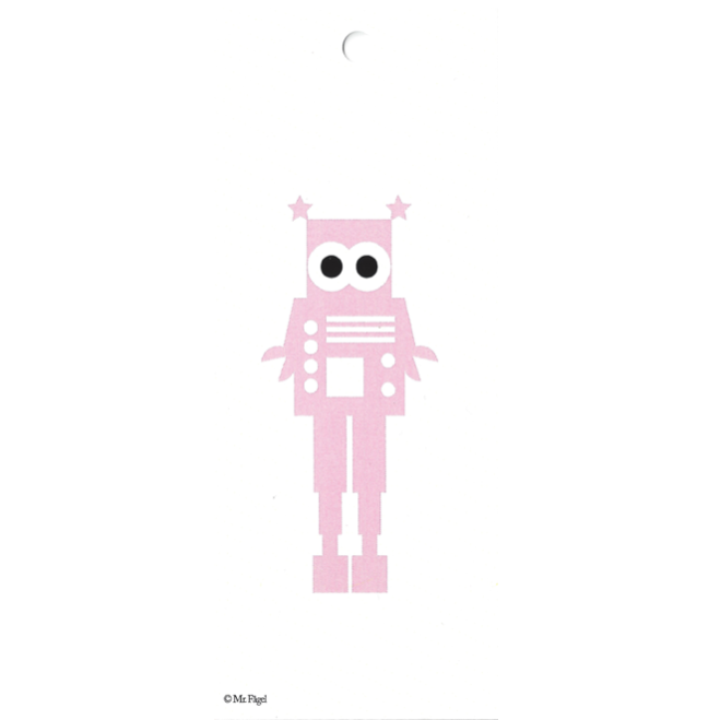 Robot Pink/White Gift Tag - Northlight Homestore