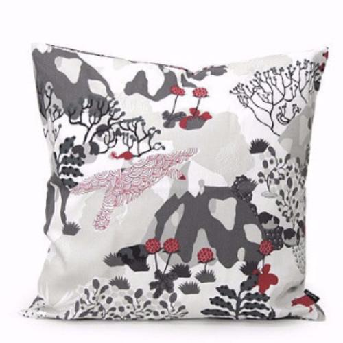 Nils Grey/Red 50x50cm Cotton Cushion Cover