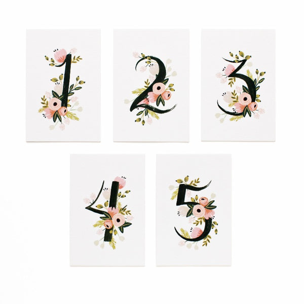 Botanical Table Numbers 1-5 Place Cards