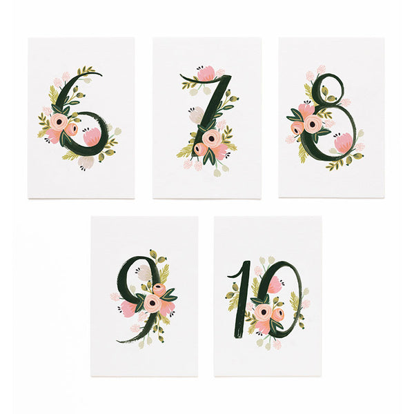 Botanical Table Numbers 6-10 Place Cards