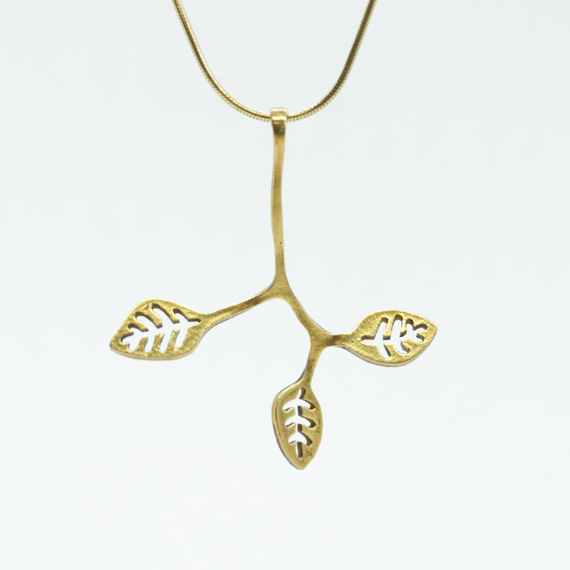 Twig and Leaves Necklace in  Gold Plated Sterling Silver