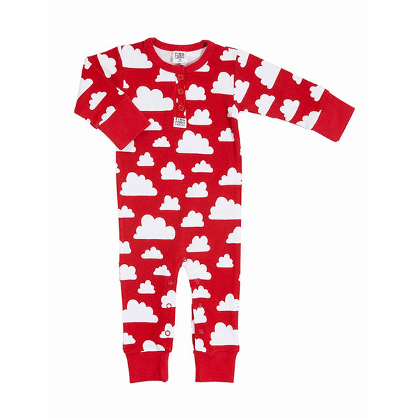 Bodysuit Cotton Cloud Red (No Buttons) -  2-4 Months
