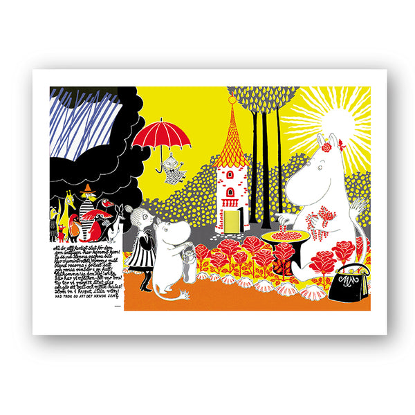 Moomin Sunshine Collecting Berries Art Print