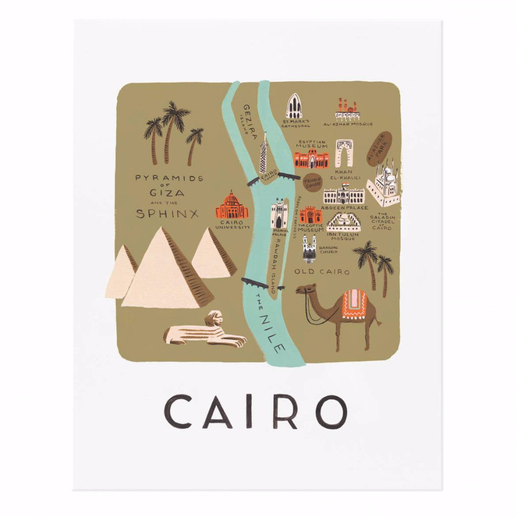 Cairo Map 11x14 Art Print