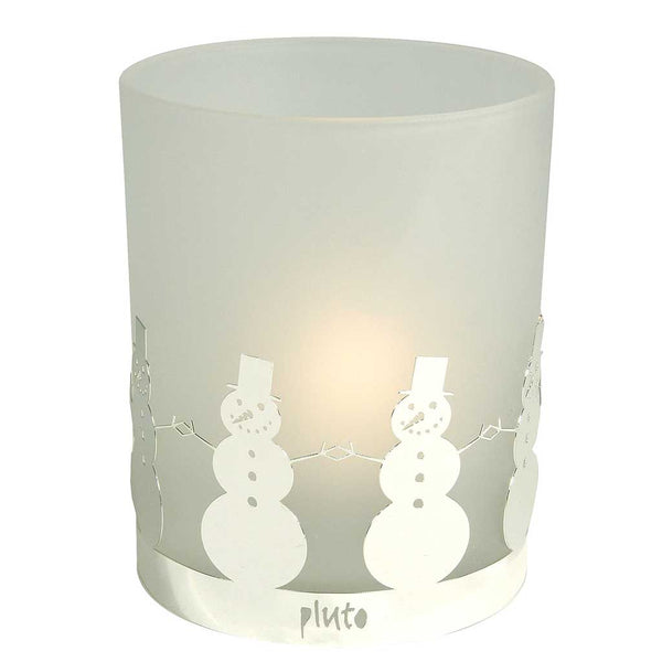 Frosted Glass Tea lIght Holder Snowman