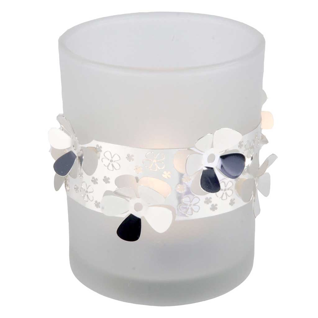 Frosted Glass Tea Light Holder Flower - Northlight Homestore