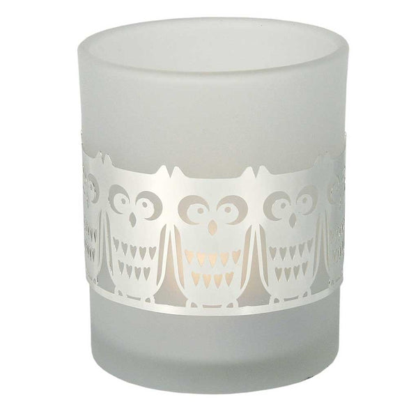 Frosted Glass Tea Light Holder Owl