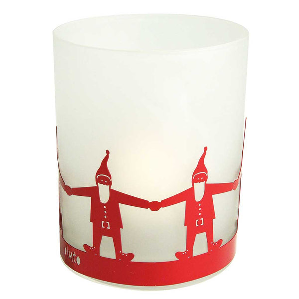 Frosted Glass Tea Light Holder Santa
