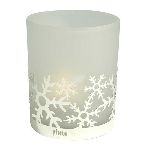 Frosted Glass Tea Light Holder Snowflake