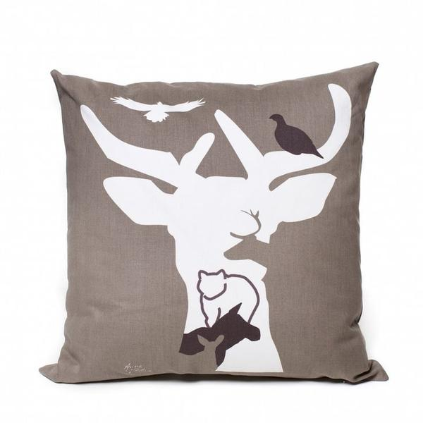Deer Motif Brown Cushion Cover