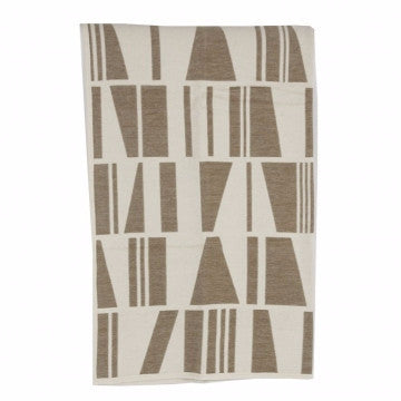 Geometry Beige Organic Cotton Chenille Blanket - Northlight Homestore