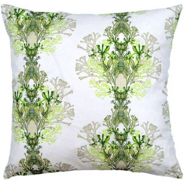 Fager Green/White 48x48cm Linen/Cotton Cushion Cover