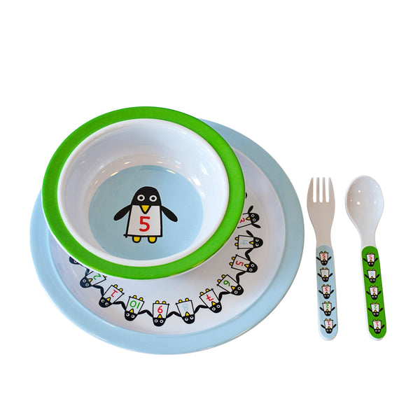Penguin Pals Dinnerware Set Blue/Green - Northlight Homestore