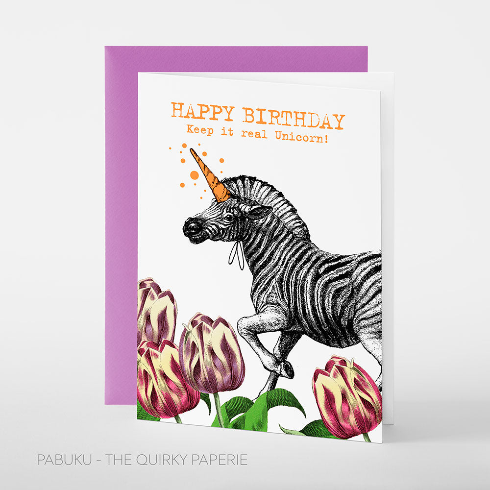 Birthday Unicorn Zebra Card - Northlight Homestore