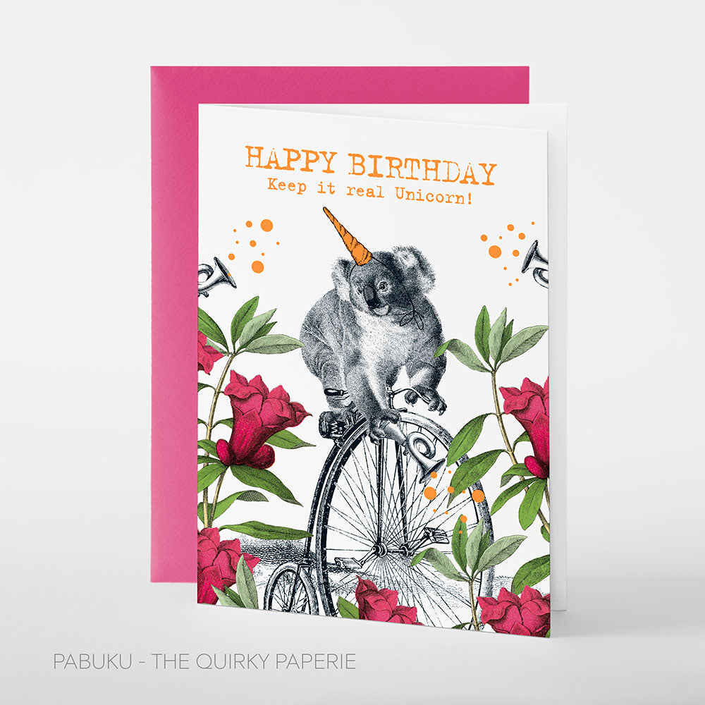 Birthday Unicorn Koala Card - Northlight Homestore