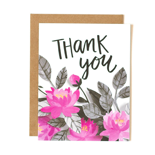 Thank You Pink Floral Card - Northlight Homestore