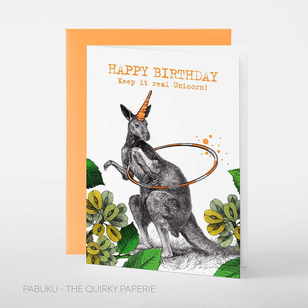 Birthday Unicorn Kangaroo Card - Northlight Homestore